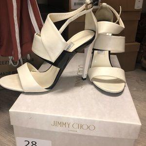 Jimmy Choo off white/ black heels